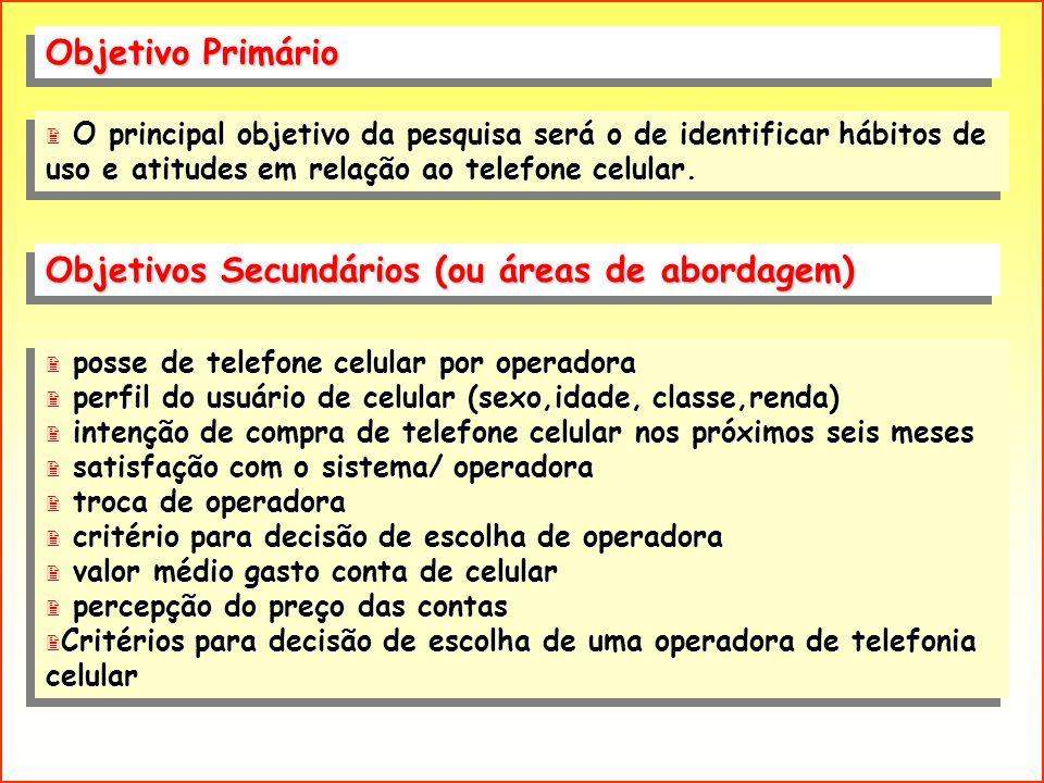 Objetivo Primário 2 posse de telefone celular por operadora 2 perfil do usuário de celular (sexo,idade, classe,renda) 2 intenção de compra de telefone