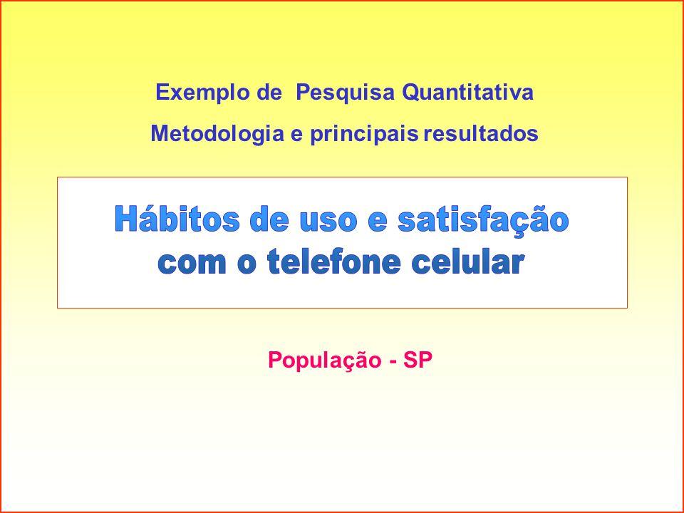 População - SP Exemplo de Pesquisa Quantitativa Metodologia e principais resultados