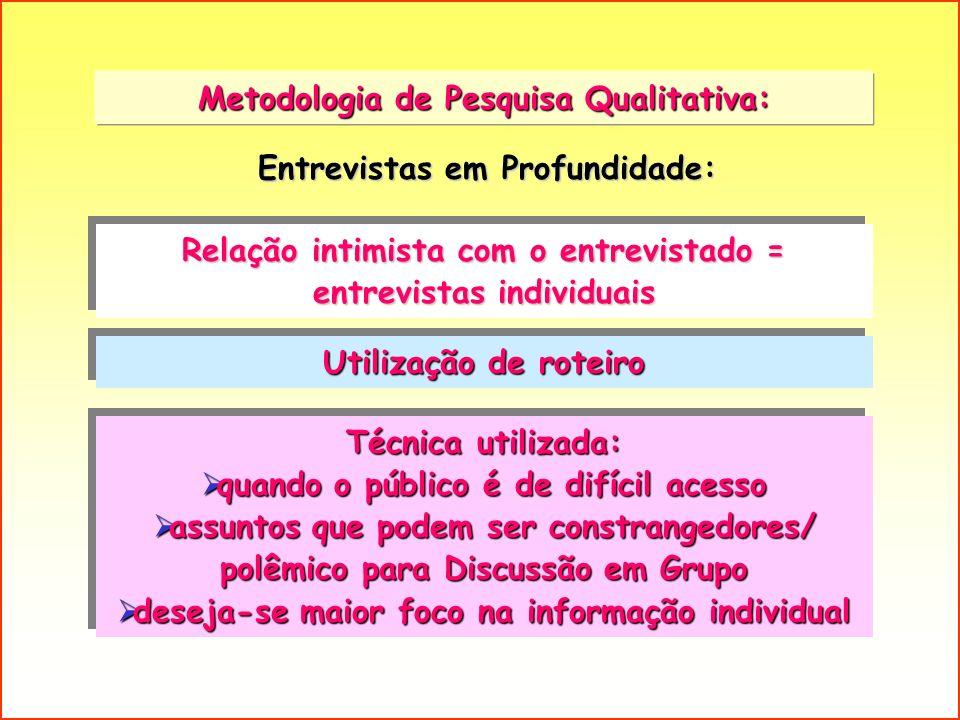 Metodologia de Pesquisa Qualitativa: Relação intimista com o entrevistado = entrevistas individuais Utilização de roteiro Entrevistas em Profundidade: