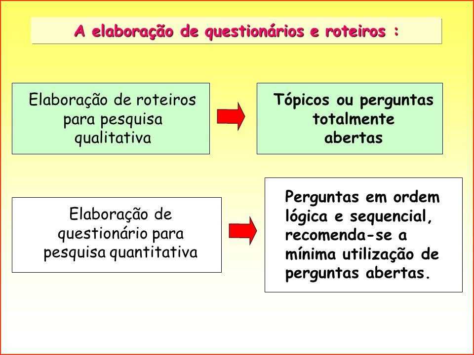 A elaboração de questionários e roteiros : Tópicos ou perguntas totalmente abertas Elaboração de roteiros para pesquisa qualitativa Elaboração de ques