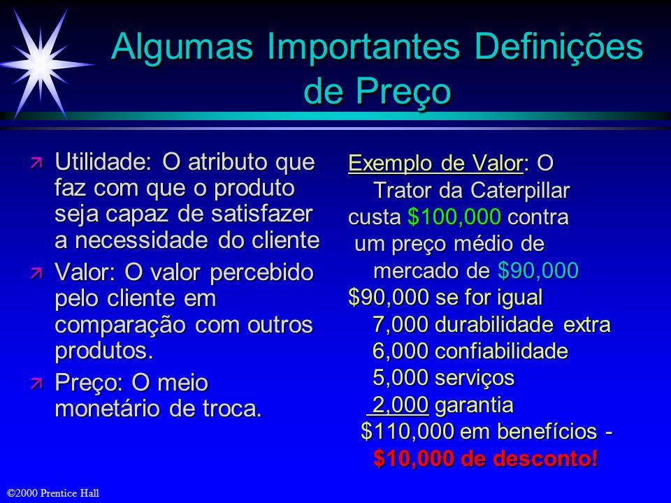 ©2000 Prentice Hall Algumas Importantes Definições de Preço ä Utilidade: O atributo que faz com que o produto seja capaz de satisfazer a necessidade d