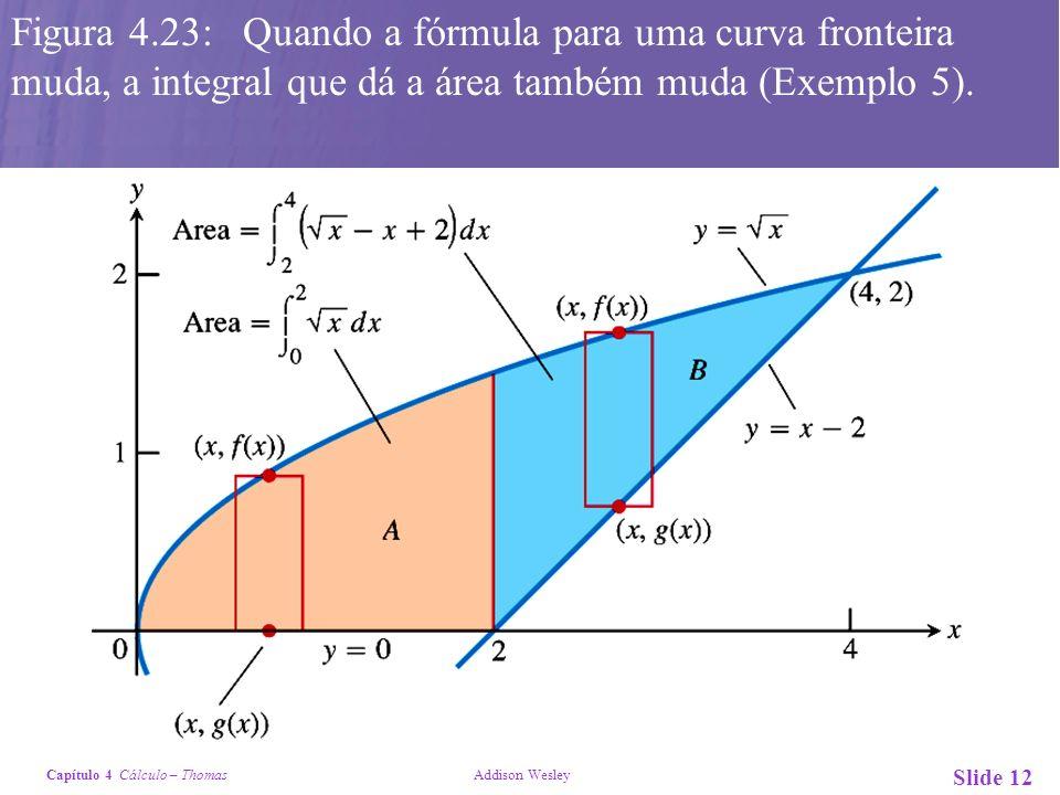 Capítulo 4 Cálculo – Thomas Addison Wesley Slide 12 Figura 4.23: Quando a fórmula para uma curva fronteira muda, a integral que dá a área também muda
