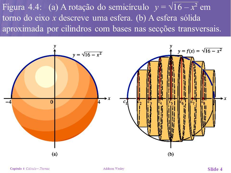Capítulo 4 Cálculo – Thomas Addison Wesley Slide 4 Figura 4.4: (a) A rotação do semicírculo y = 16 – x 2 em torno do eixo x descreve uma esfera. (b) A
