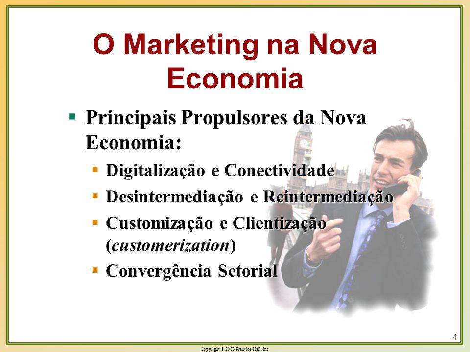 Copyright © 2003 Prentice-Hall, Inc. 4 O Marketing na Nova Economia Principais Propulsores da Nova Economia: Principais Propulsores da Nova Economia: