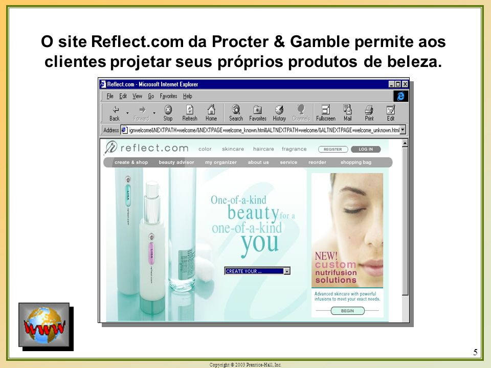 Copyright © 2003 Prentice-Hall, Inc. 5 O site Reflect.com da Procter & Gamble permite aos clientes projetar seus próprios produtos de beleza.