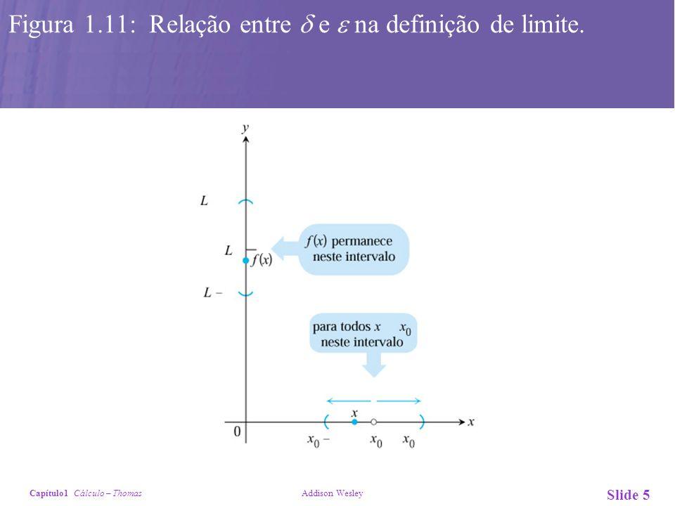 Capítulo1 Cálculo – Thomas Addison Wesley Slide 6 Figura 1.13: Um intervalo aberto de raio 3 em torno de x 0 = 5 estará dentro do intervalo aberto (2, 10).
