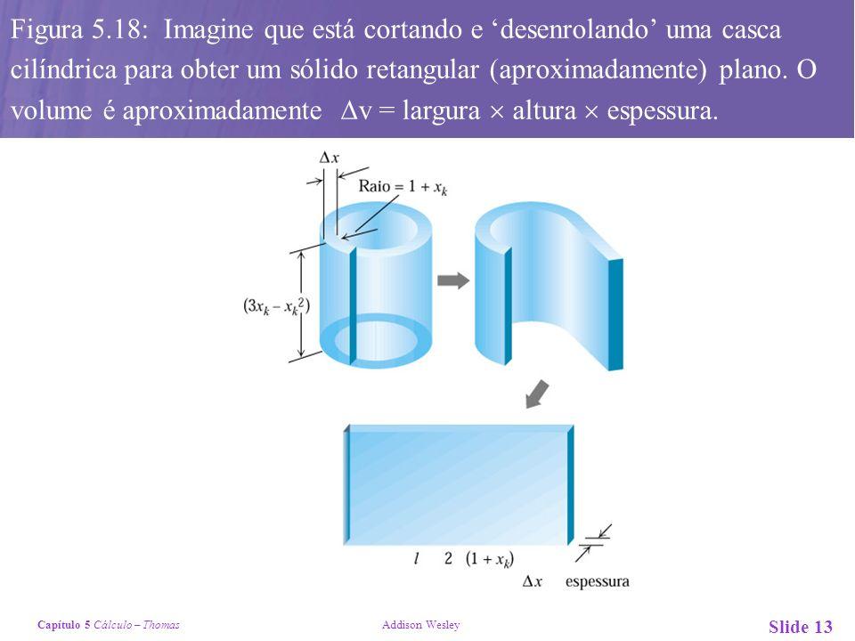 Capítulo 5 Cálculo – Thomas Addison Wesley Slide 13 ) Figura 5.18: Imagine que está cortando e desenrolando uma casca cilíndrica para obter um sólido retangular (aproximadamente) plano.