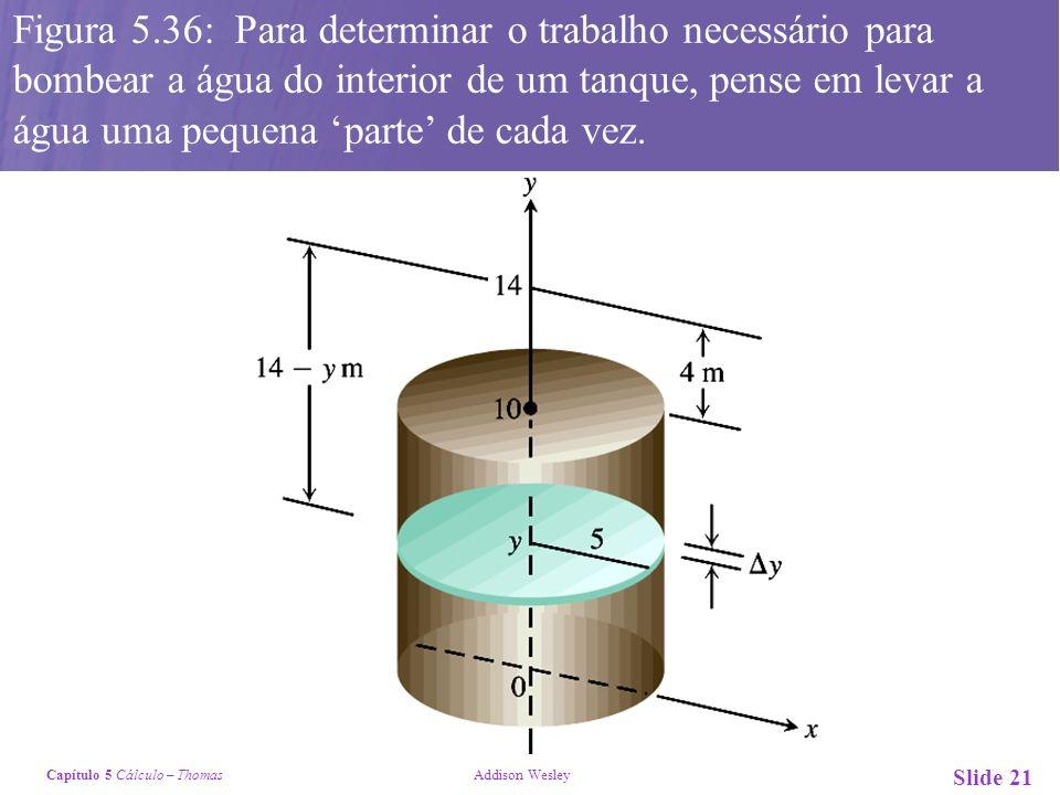 Capítulo 5 Cálculo – Thomas Addison Wesley Slide 21 Figura 5.36: Para determinar o trabalho necessário para bombear a água do interior de um tanque, pense em levar a água uma pequena parte de cada vez.