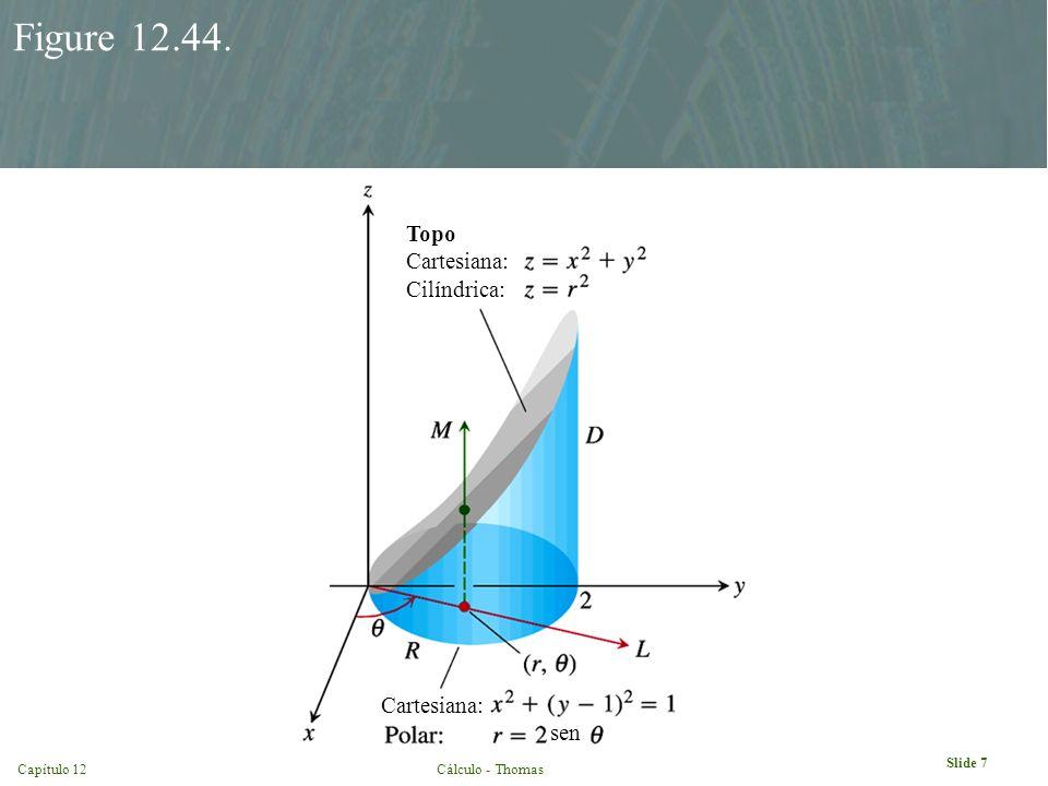 Capítulo 12Cálculo - Thomas Slide 7 Figure 12.44. Topo Cartesiana: Cilíndrica: Cartesiana: sen