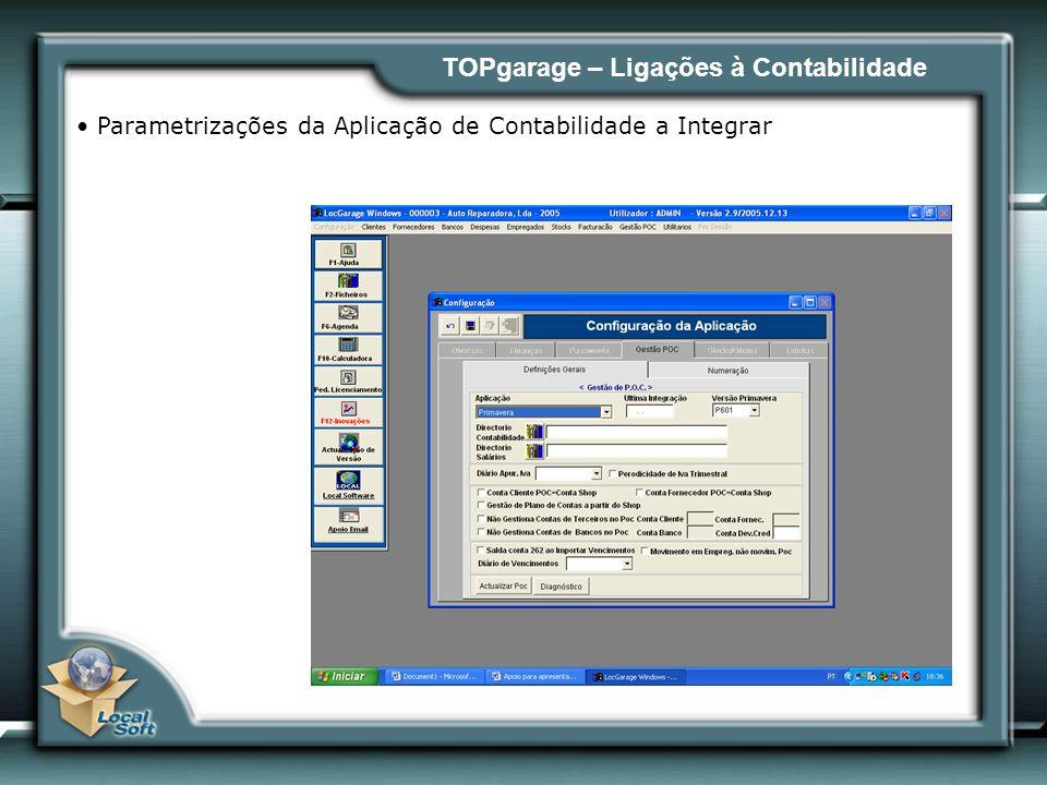 TOPgarage – Ligações à Contabilidade Parametrizações da Aplicação de Contabilidade a Integrar