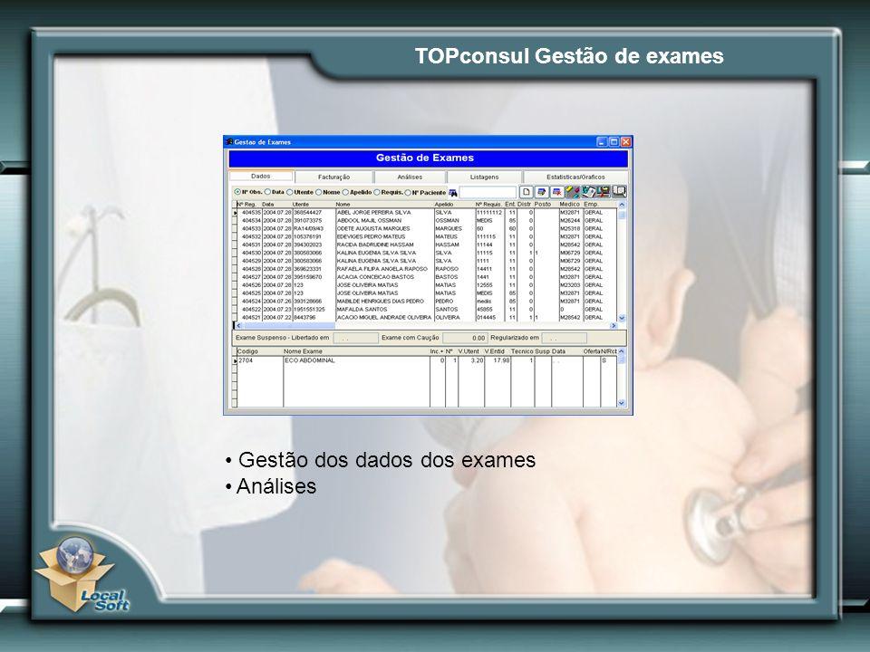 TOPconsul Gestão de exames Gestão dos dados dos exames Análises