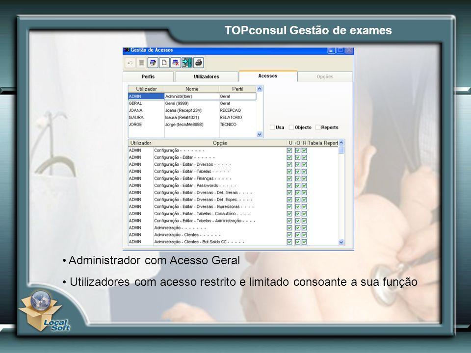 TOPconsul Gestão de exames Administrador com Acesso Geral Utilizadores com acesso restrito e limitado consoante a sua função