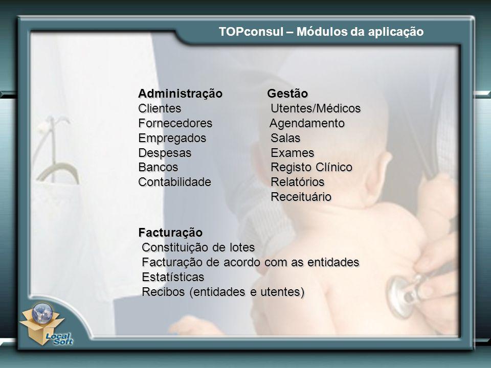 TOPconsul – Módulos da aplicação Gestão Utentes/Médicos Utentes/Médicos Agendamento Agendamento Salas Salas Exames Exames Registo Clínico Registo Clín