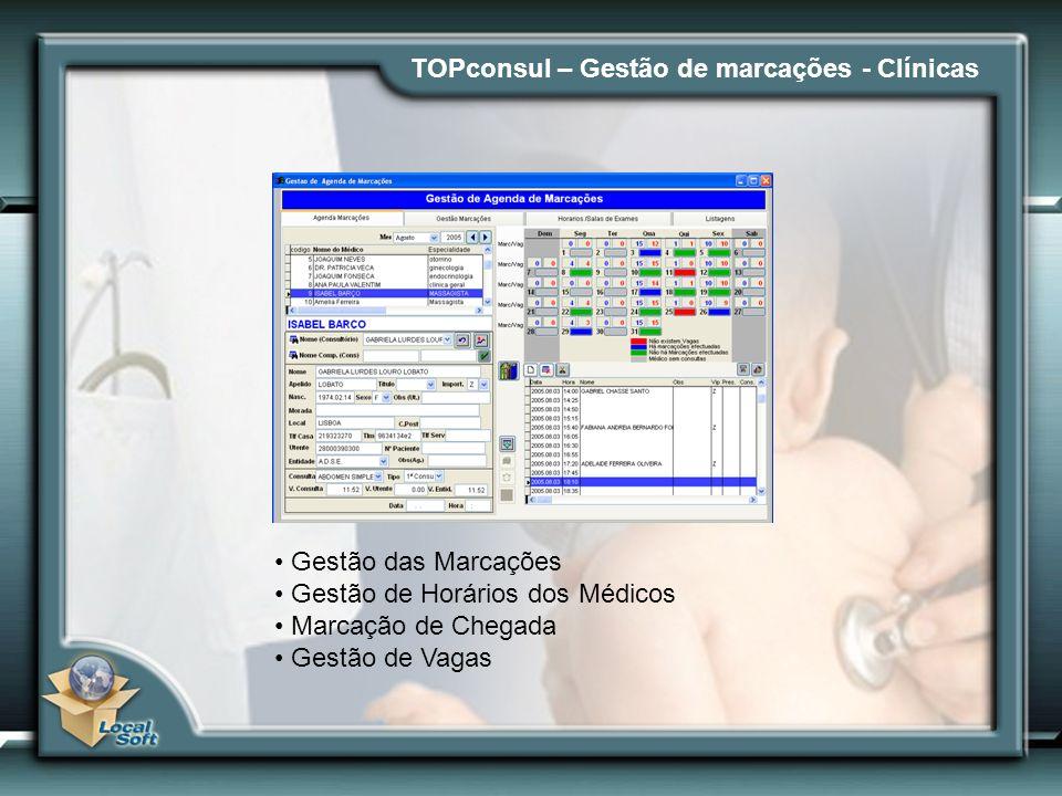 TOPconsul – Gestão de marcações - Clínicas Gestão das Marcações Gestão de Horários dos Médicos Marcação de Chegada Gestão de Vagas