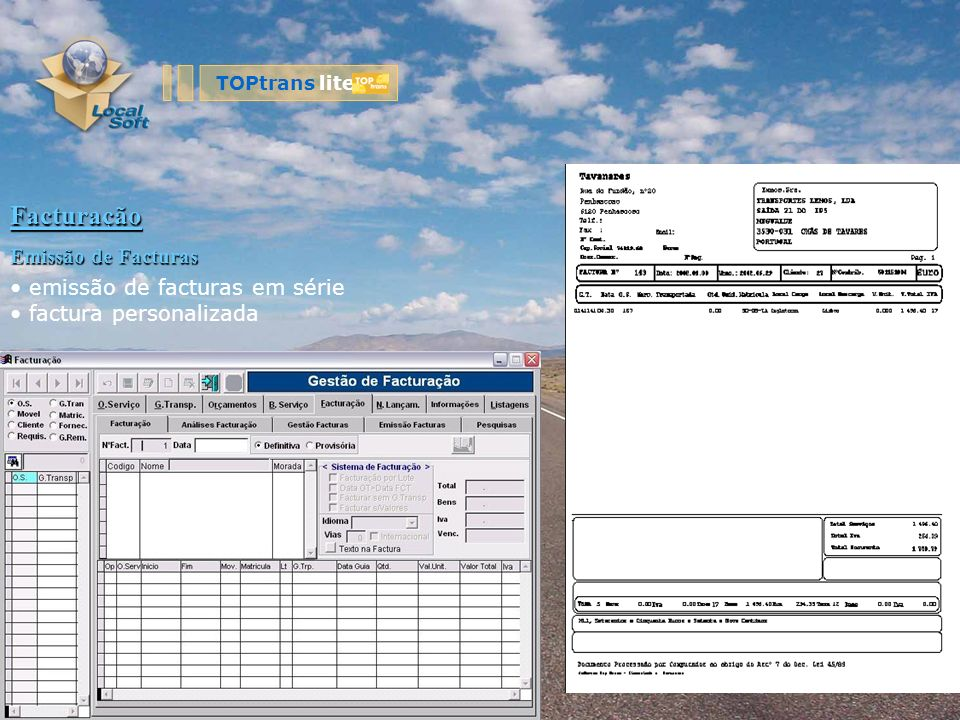 Facturação Emissão de Facturas emissão de facturas em série factura personalizada TOPtrans lite