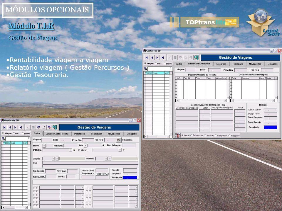 MÓDULOS OPCIONAIS Módulo T.I.R Gestão de Viagens Rentabilidade viagem a viagem Relatório viagem ( Gestão Percursos ) Gestão Tesouraria. TOPtrans lite