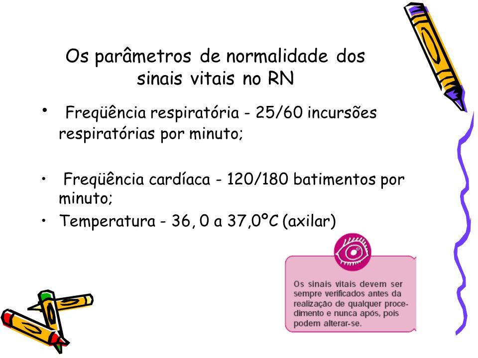 Os parâmetros de normalidade dos sinais vitais no RN Freqüência respiratória - 25/60 incursões respiratórias por minuto; Freqüência cardíaca - 120/180