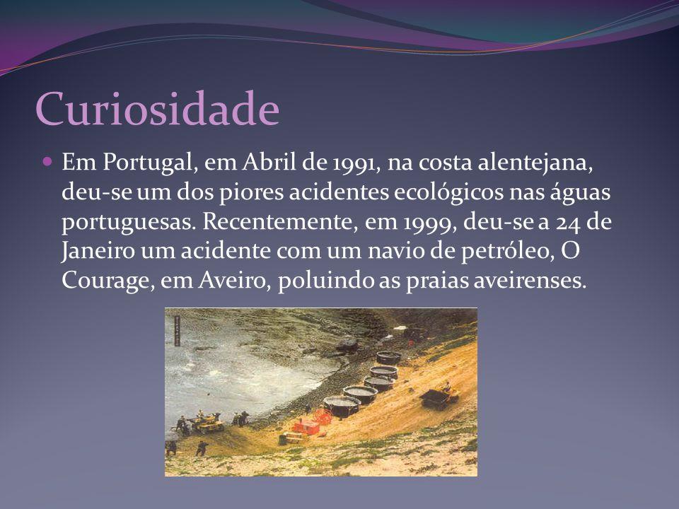 Curiosidade Em Portugal, em Abril de 1991, na costa alentejana, deu-se um dos piores acidentes ecológicos nas águas portuguesas. Recentemente, em 1999