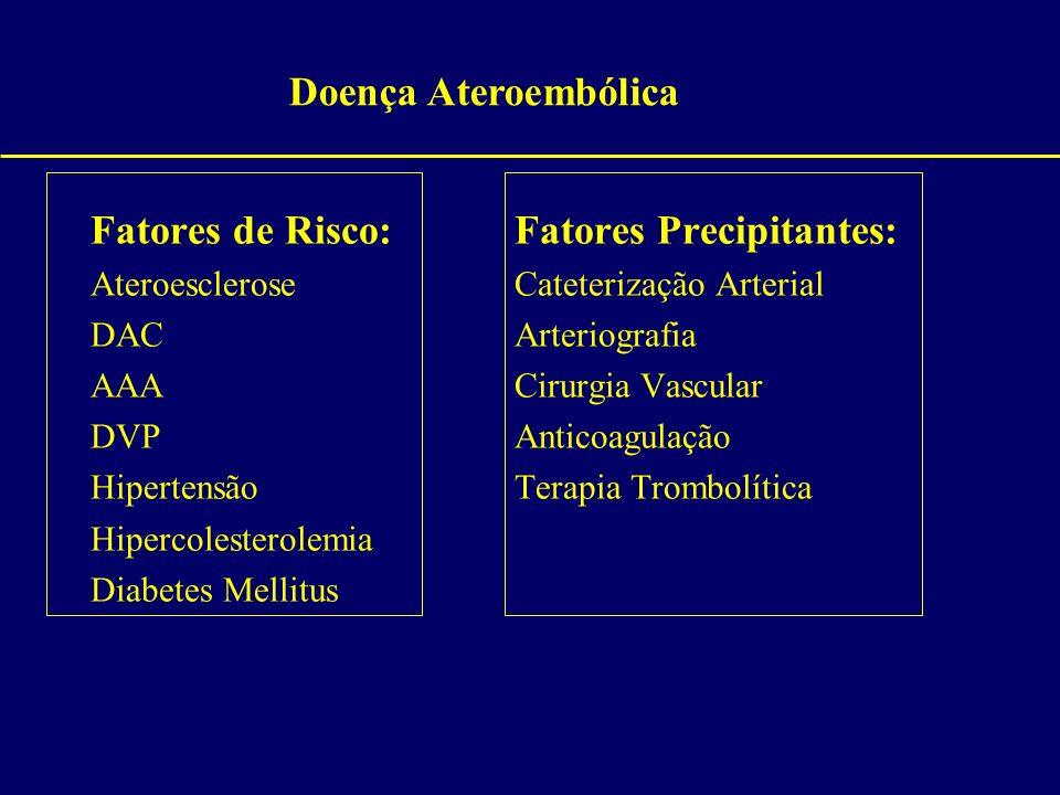 Fatores de Risco:Fatores Precipitantes: AteroescleroseCateterização Arterial DACArteriografia AAACirurgia Vascular DVPAnticoagulação HipertensãoTerapi