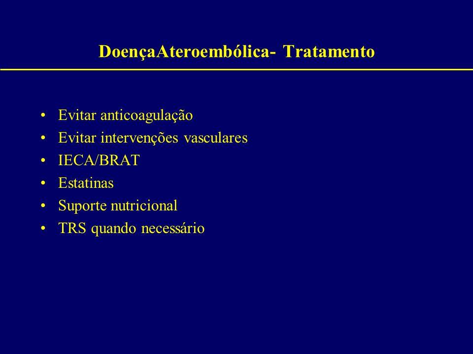 DoençaAteroembólica- Tratamento Evitar anticoagulação Evitar intervenções vasculares IECA/BRAT Estatinas Suporte nutricional TRS quando necessário