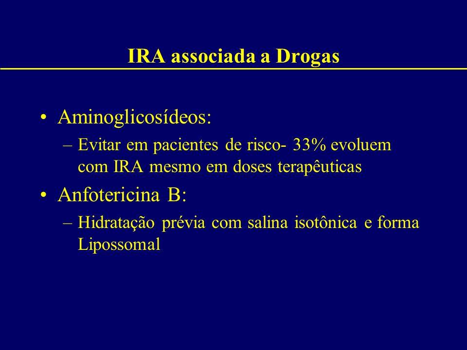 IRA associada a Drogas Aminoglicosídeos: –Evitar em pacientes de risco- 33% evoluem com IRA mesmo em doses terapêuticas Anfotericina B: –Hidratação pr