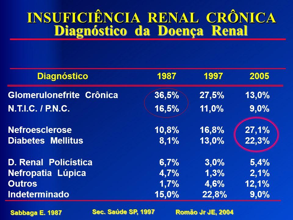 INSUFICIÊNCIA RENAL CRÔNICA Diagnóstico da Doença Renal Diagnóstico 1987 1997 2005 Glomerulonefrite Crônica36,5% 27,5% 13,0% N.T.I.C. / P.N.C.16,5% 11
