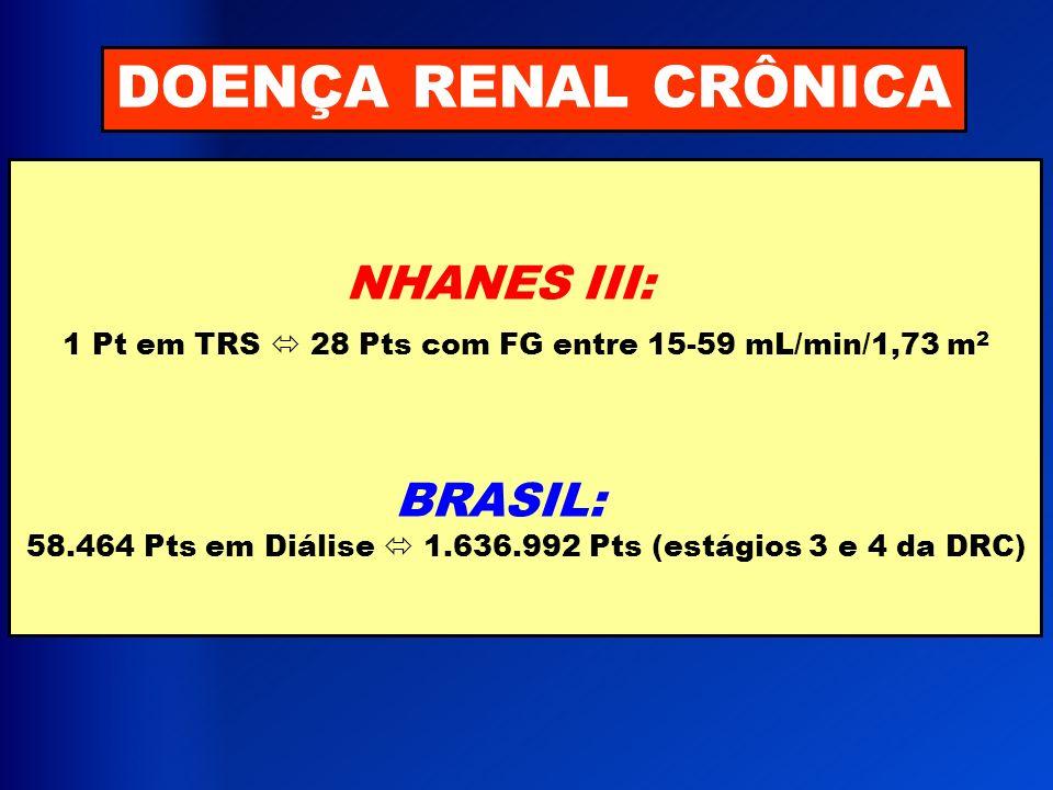 DOENÇA RENAL CRÔNICA NHANES III: 1 Pt em TRS 28 Pts com FG entre 15-59 mL/min/1,73 m 2 BRASIL: 58.464 Pts em Diálise 1.636.992 Pts (estágios 3 e 4 da
