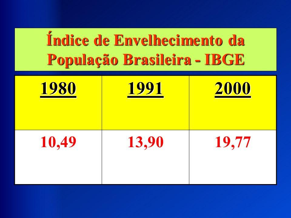 Índice de Envelhecimento da População Brasileira - IBGE 198019912000 10,4913,9019,77
