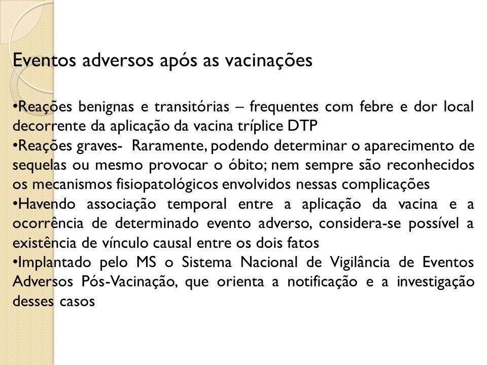 Eventos adversos após as vacinações Reações benignas e transitórias – frequentes com febre e dor local decorrente da aplicação da vacina tríplice DTP