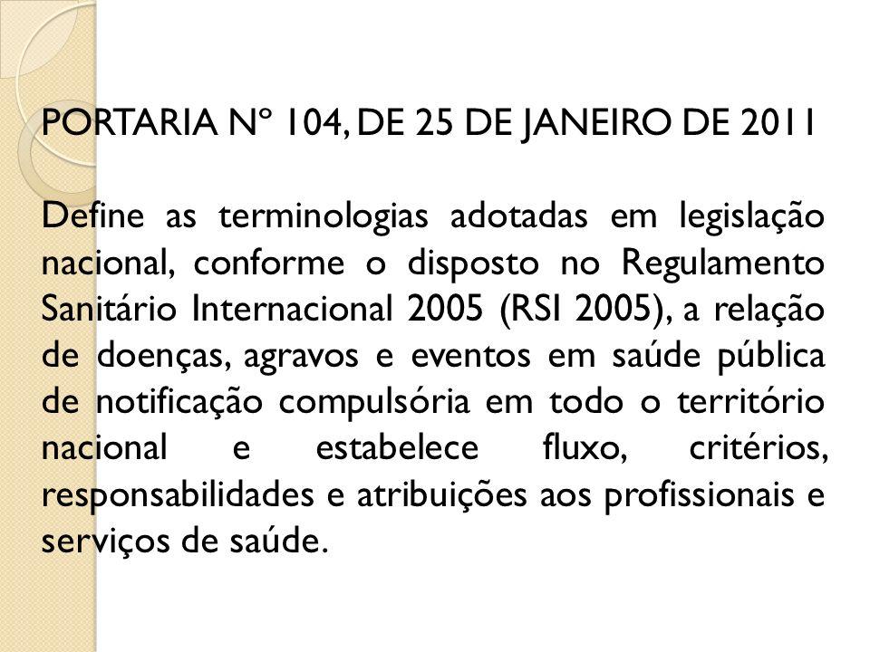 PORTARIA Nº 104, DE 25 DE JANEIRO DE 2011 Define as terminologias adotadas em legislação nacional, conforme o disposto no Regulamento Sanitário Intern