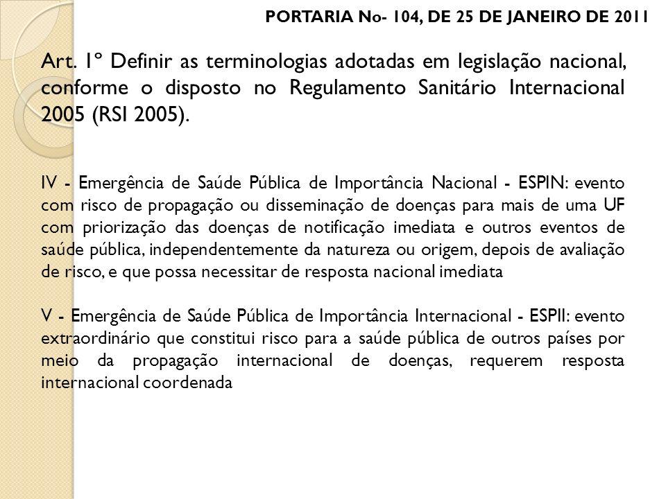 PORTARIA No- 104, DE 25 DE JANEIRO DE 2011 Art. 1º Definir as terminologias adotadas em legislação nacional, conforme o disposto no Regulamento Sanitá