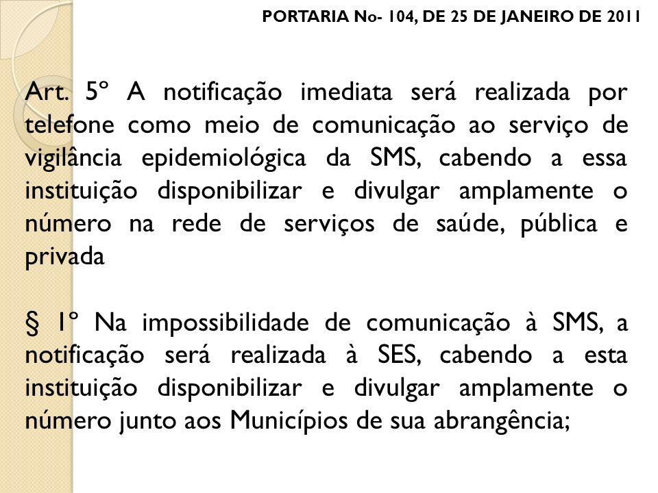 Art. 5º A notificação imediata será realizada por telefone como meio de comunicação ao serviço de vigilância epidemiológica da SMS, cabendo a essa ins