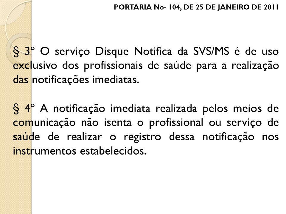 § 3º O serviço Disque Notifica da SVS/MS é de uso exclusivo dos profissionais de saúde para a realização das notificações imediatas. § 4º A notificaçã