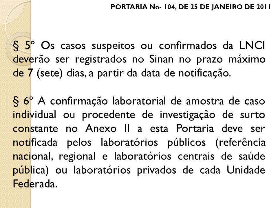 § 5º Os casos suspeitos ou confirmados da LNCI deverão ser registrados no Sinan no prazo máximo de 7 (sete) dias, a partir da data de notificação. § 6
