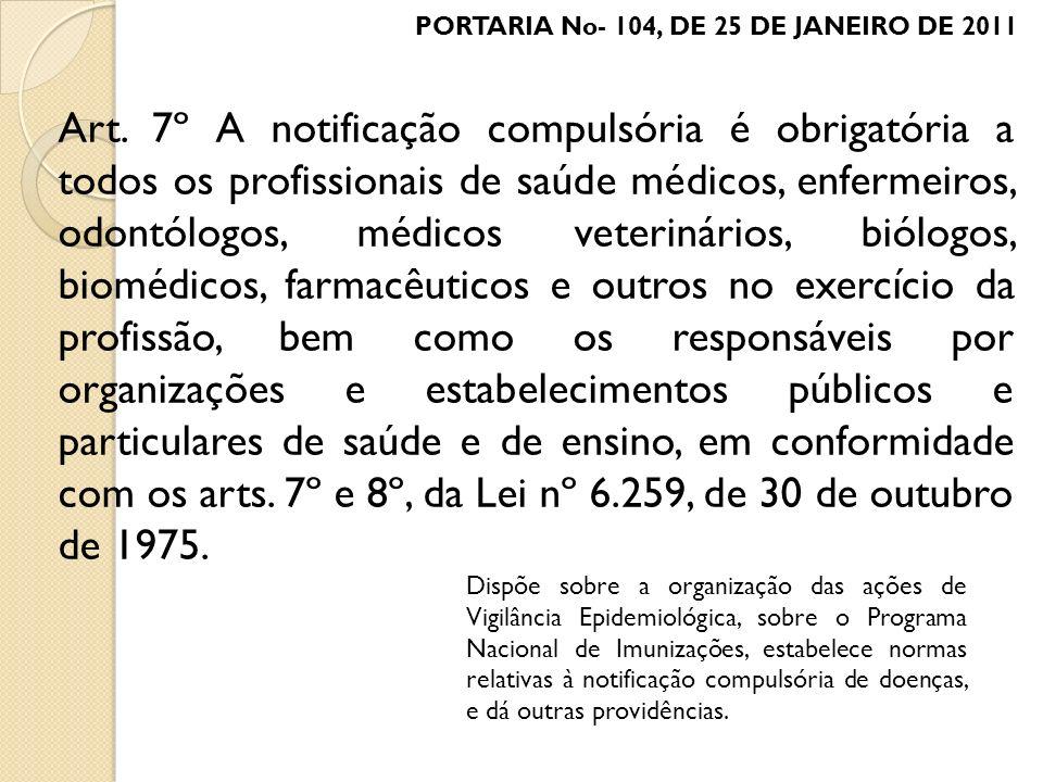 Art. 7º A notificação compulsória é obrigatória a todos os profissionais de saúde médicos, enfermeiros, odontólogos, médicos veterinários, biólogos, b