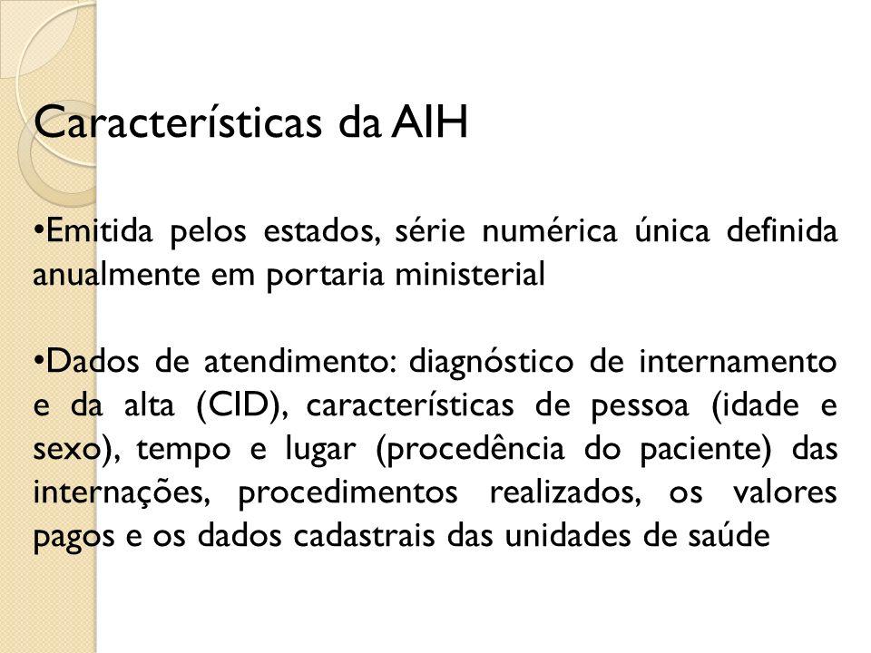 Características da AIH Emitida pelos estados, série numérica única definida anualmente em portaria ministerial Dados de atendimento: diagnóstico de in