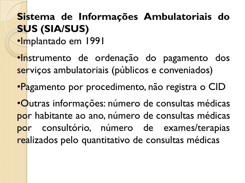 Sistema de Informações Ambulatoriais do SUS (SIA/SUS) Implantado em 1991 Instrumento de ordenação do pagamento dos serviços ambulatoriais (públicos e