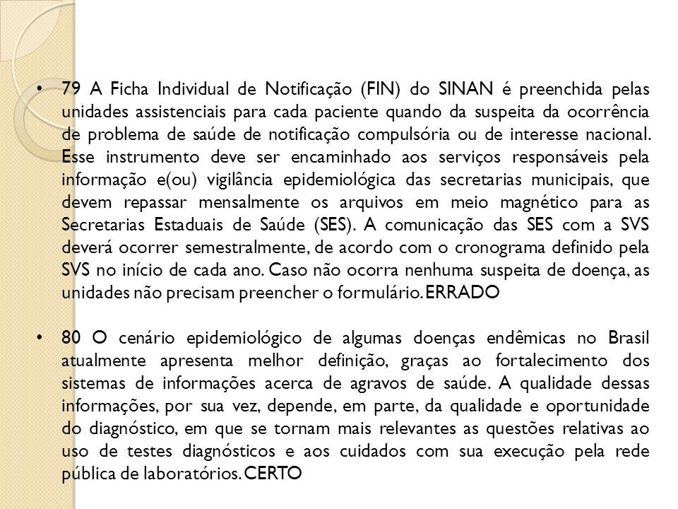 79 A Ficha Individual de Notificação (FIN) do SINAN é preenchida pelas unidades assistenciais para cada paciente quando da suspeita da ocorrência de p