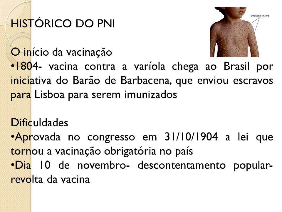 HISTÓRICO DO PNI O início da vacinação 1804- vacina contra a varíola chega ao Brasil por iniciativa do Barão de Barbacena, que enviou escravos para Li