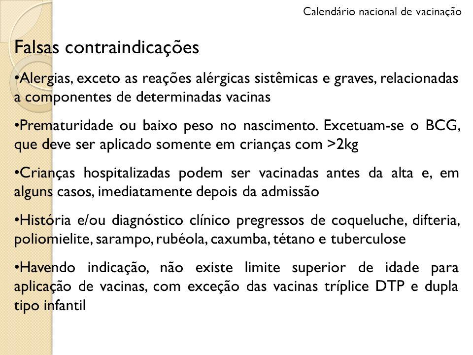 Falsas contraindicações Alergias, exceto as reações alérgicas sistêmicas e graves, relacionadas a componentes de determinadas vacinas Prematuridade ou