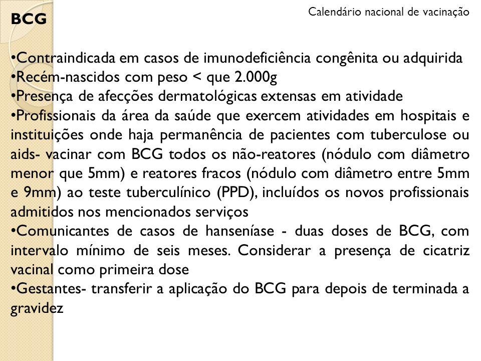BCG Contraindicada em casos de imunodeficiência congênita ou adquirida Recém-nascidos com peso < que 2.000g Presença de afecções dermatológicas extens
