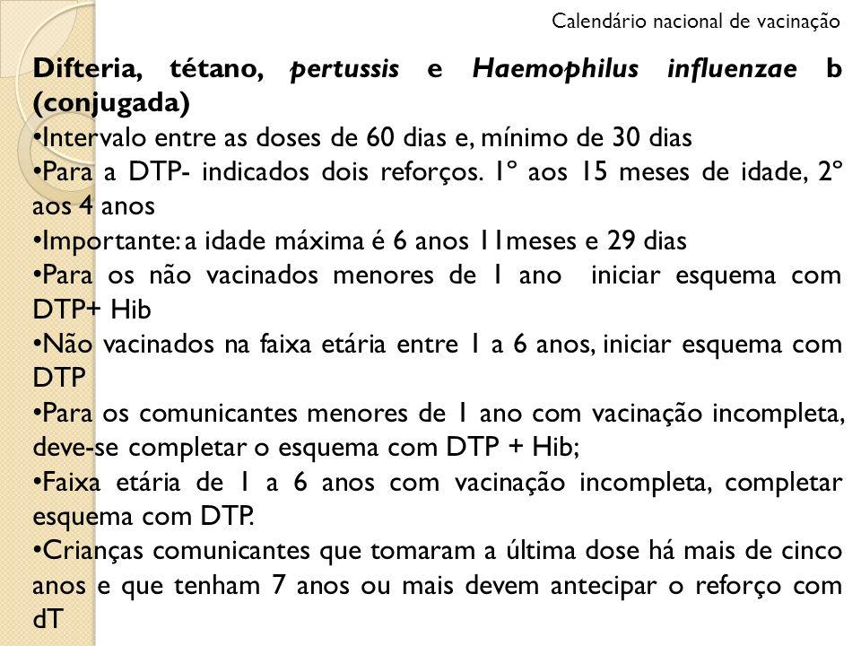Difteria, tétano, pertussis e Haemophilus influenzae b (conjugada) Intervalo entre as doses de 60 dias e, mínimo de 30 dias Para a DTP- indicados dois