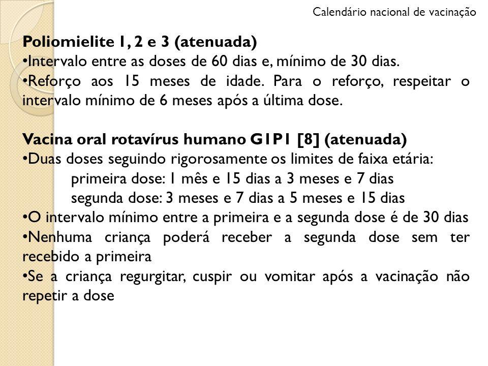 Poliomielite 1, 2 e 3 (atenuada) Intervalo entre as doses de 60 dias e, mínimo de 30 dias. Reforço aos 15 meses de idade. Para o reforço, respeitar o