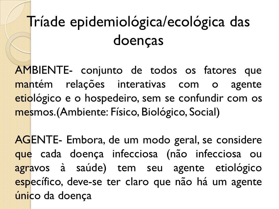 Tríade epidemiológica/ecológica das doenças AMBIENTE- conjunto de todos os fatores que mantém relações interativas com o agente etiológico e o hospede