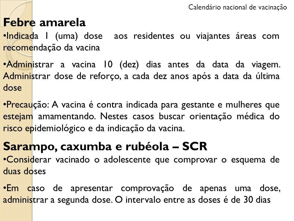 Febre amarela Indicada 1 (uma) dose aos residentes ou viajantes áreas com recomendação da vacina Administrar a vacina 10 (dez) dias antes da data da v