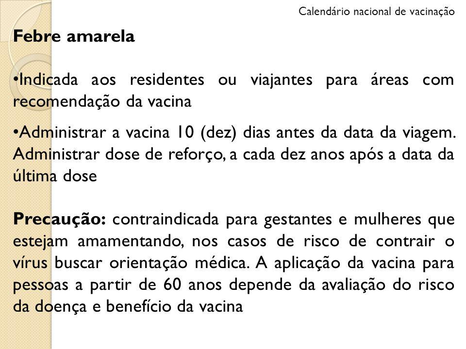 Febre amarela Indicada aos residentes ou viajantes para áreas com recomendação da vacina Administrar a vacina 10 (dez) dias antes da data da viagem. A