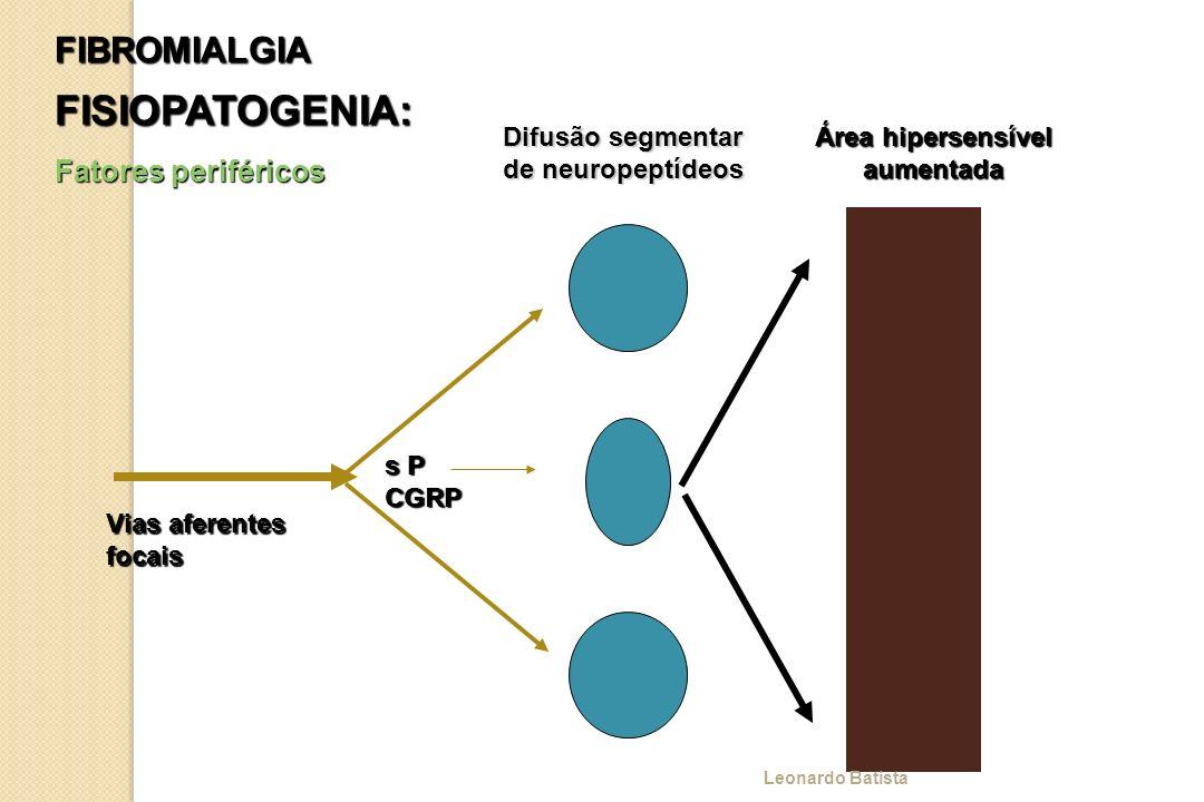 FIBROMIALGIA FISIOPATOGENIA: Fatores periféricos Vias aferentes focais s P CGRP Difusão segmentar de neuropeptídeos Área hipersensível aumentada Leona