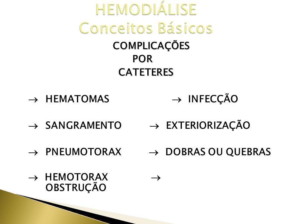 COMPLICAÇÕESPOR CATETERES CATETERES IMEDIATAS TARDIAS HEMATOMAS INFECÇÃO SANGRAMENTO EXTERIORIZAÇÃO PNEUMOTORAX DOBRAS OU QUEBRAS HEMOTORAX OBSTRUÇÃO