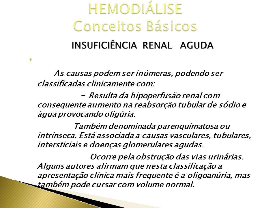 INSUFICIÊNCIA RENAL AGUDA CAUSAS As causas podem ser inúmeras, podendo ser classificadas clinicamente com: Pré Renal - Resulta da hipoperfusão renal c
