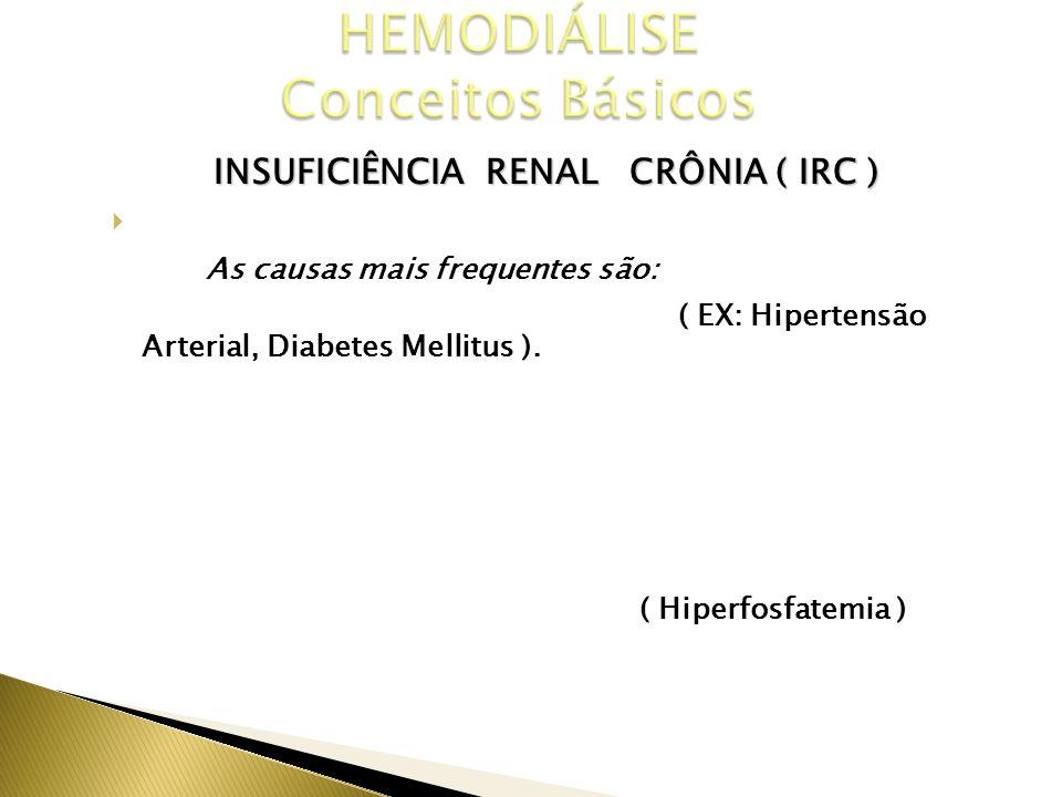 INSUFICIÊNCIA RENAL CRÔNIA ( IRC ) CAUSAS As causas mais frequentes são: Doenças Crônicas Degenerativas ( EX: Hipertensão Arterial, Diabetes Mellitus